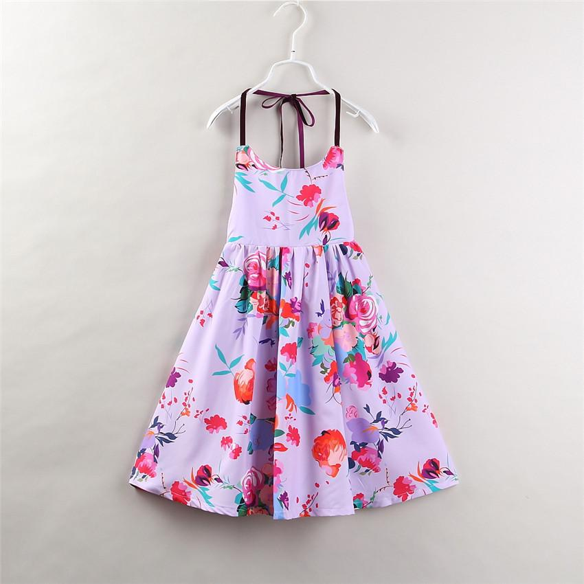 1355df497615 2019 Girls Floral Printed Vest Dress Tatting Design Sleeveless Suspender  Skirt Soft Breathable Cool Cotton Fabric Summer Dresses 2 7T From  Tiangeltg