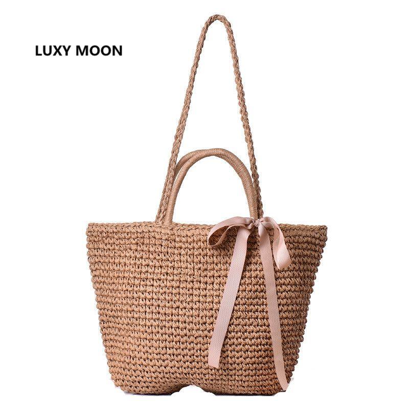 d3d2c19e8cb4 Japanese Summer Ribbon Bowknot Straw Bag Beach Handmade Woven Handbags  Causal Shoulder Bags For Women Boho Big Shopping Tote A45 Purses On Sale  Men Bags ...