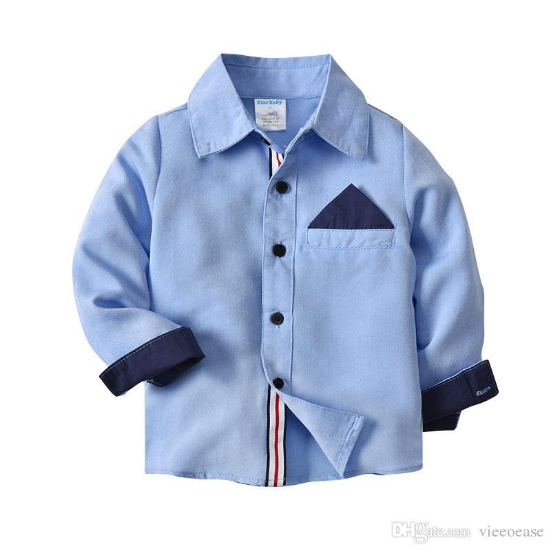 Vieeoease Boys Shirt Gentleman Kids Clothing 2018 Spring Fashion Long Sleeve Cotton Top for Boys EE-073 mc