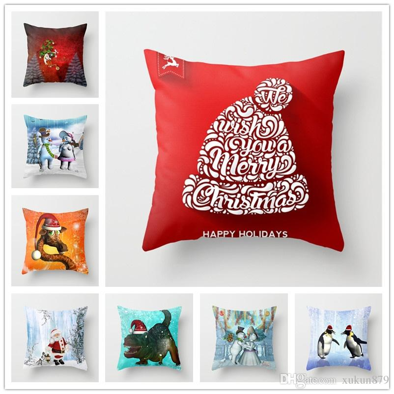 Christmas Decor Animal Pattern Snowman Pillows Hd Printed Short