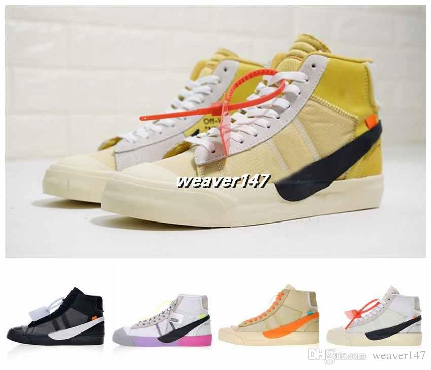 3ba542f9913 OFF New Blazers Mid Queen AA3832-100 OW Fashion Sneakers Black Yellow  Rainbow White Running Shoes Men Women Designer Chaussures Shoes Running  Shoes Designer ...