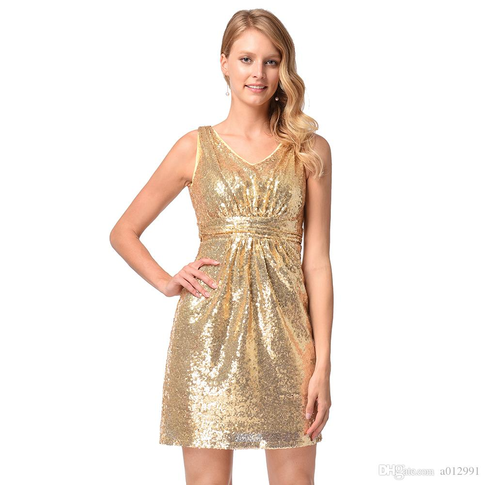 845fb685a48 2019 Women Sequins Mini Party Dress Sleeveless Backless Gold Sequin  Sweetheart Skinny Wedding Party Bridesmaid Dress Vestido De Festa From  A012991