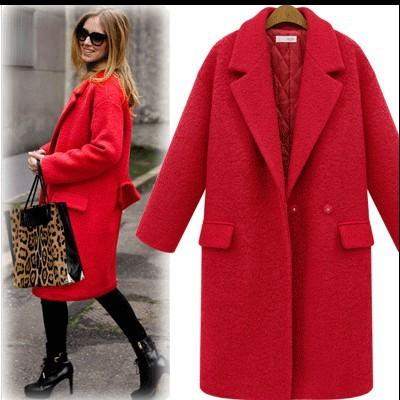 Großhandel 2019 Neue 2017 Mode Frauen Herbst Wintermantel Outwear Verdicken  Wollmantel Lange Jacke Plus Größe Rot, Schwarz Kaschmir Jacke Trenchcoat  Xxxl ... 8b9c8e84c6