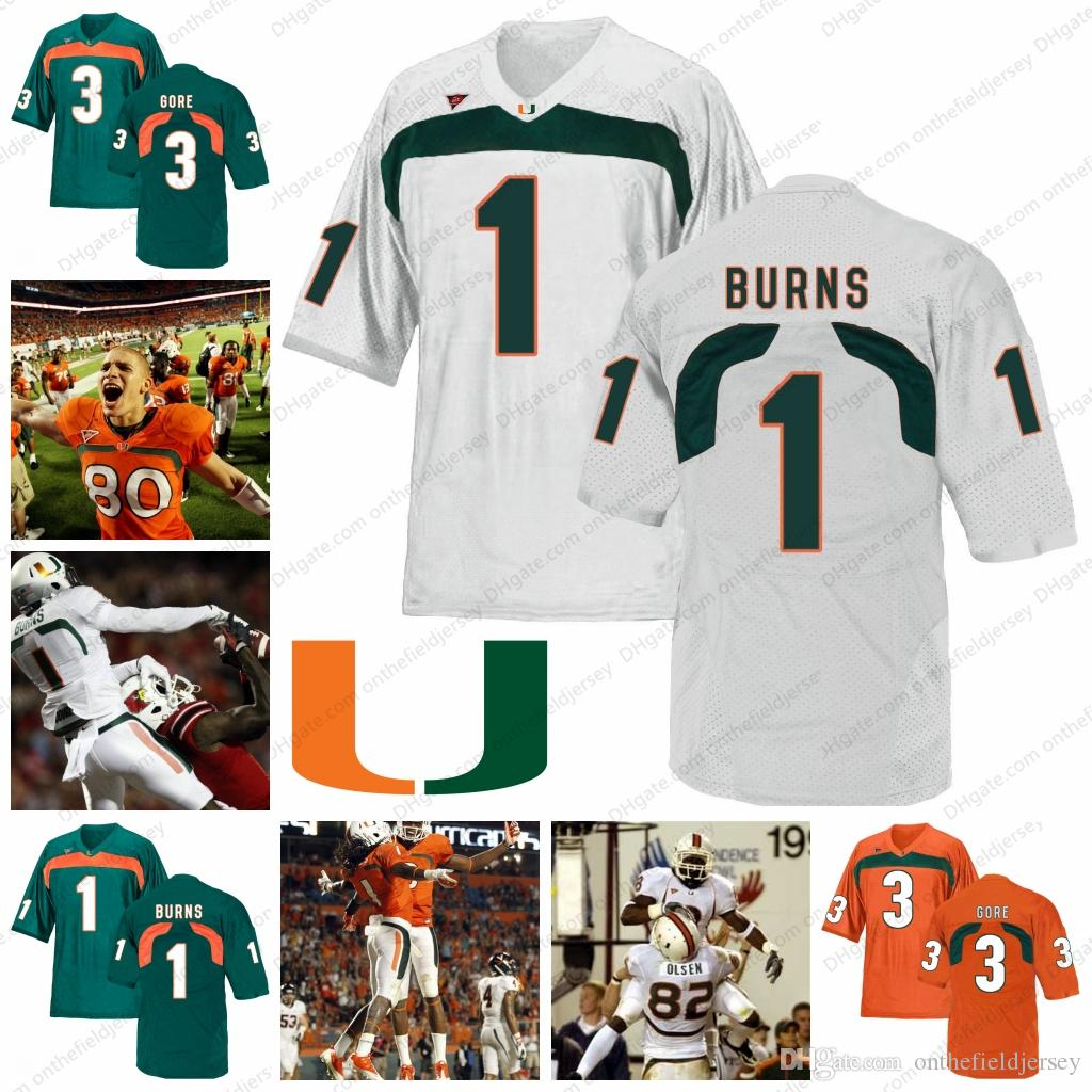 factory authentic 3399c 4575e Miami Hurricanes #1 Allen Hurns 1 Artie Burns 80 Jimmy Graham 3 Frank Gore  82 Greg Olsen NCAA Football Orange Green White Jerseys S-3XL