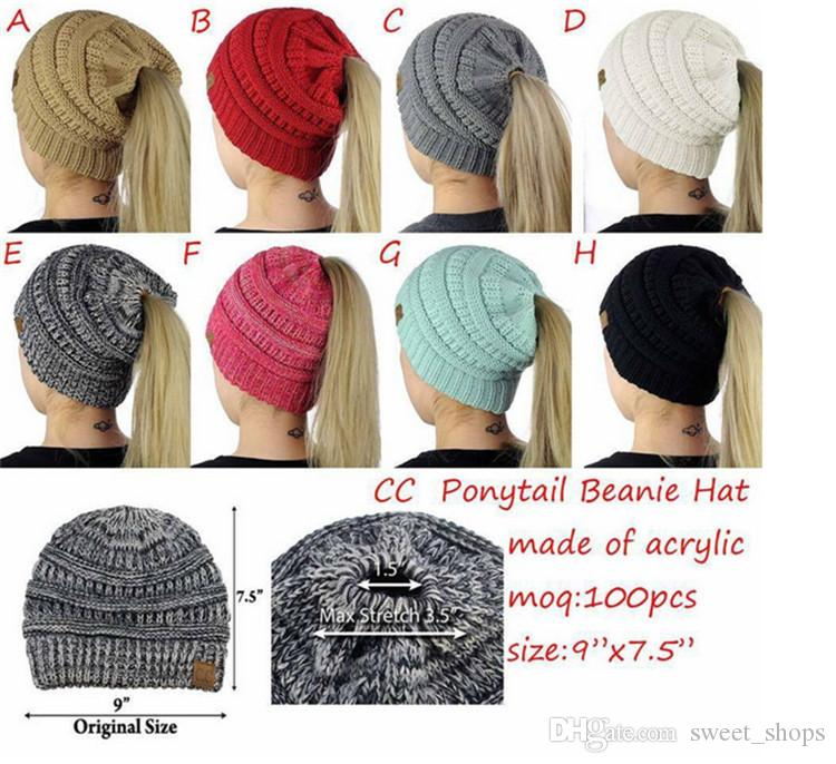 fadba0960b8 Women CC Ponytail Caps CC Knitted Hats Beanie Girls Winter Warm Hat Fashion  Back Hole Pony Tail Crochet Hats Skull Cap Casual Beanies CC Ponytail Caps  Cc Cc ...