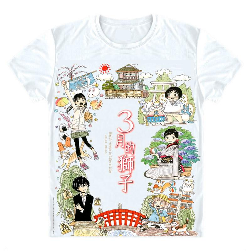 Sangatsu no Raion T-Shirts Multi-style Short Sleeve Shirts March Comes in Like a Lion Rei Kiriyama 3 gatsu no Lion Cosplay Shirt