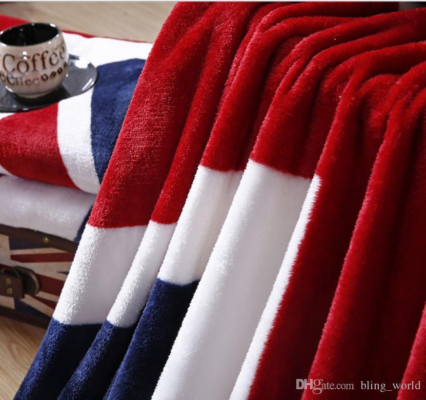 США Великобритании флаг одеяло удобный теплый диван крышка односпальная простыня американский флаг плед фланель коралловые флис бросает одеяла 150 * 200 см LDH137