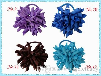 "100pcs 3.5"" whirl korker ponytail hair ties holders streamer corker hair bows clip Cheer Bows tassel Curly Ribbon Bow hair bobbles PD006"