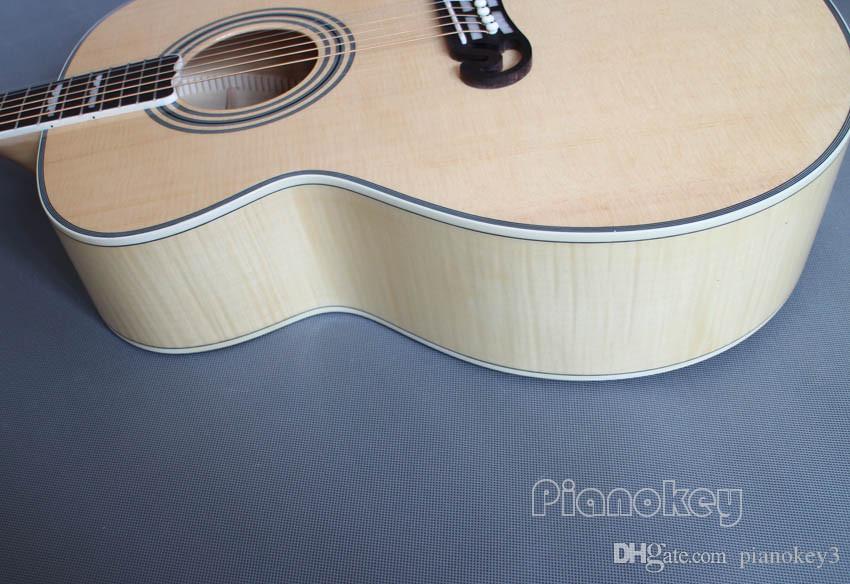 OEM Özel el işi akustik gitar, 43 inç Jumbo ahşap renk Çin yapılan gitar elektrik akustik