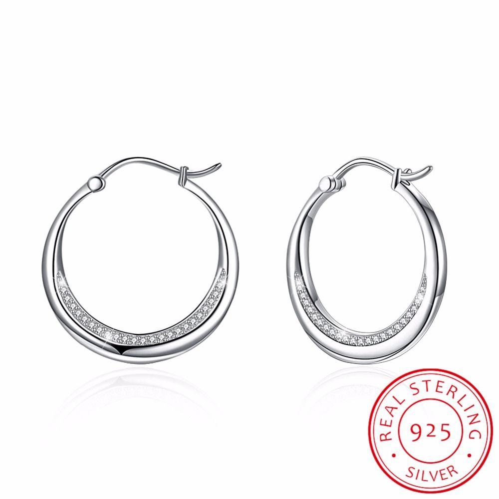 99aee6b83 2019 100% 925 Sterling Silver Hoop Earrings Round Circle Hoop Earrings  Women Men Crescent Moon Silver Pendientes Jewelry From Zeipt, $24.75 |  DHgate.Com