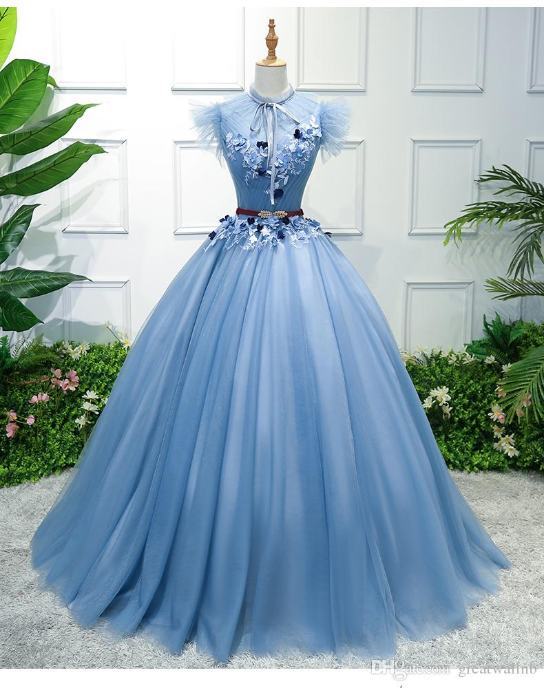 100%real 18th Century Ball Gown Ruffled Collar Light Blue Queen ...