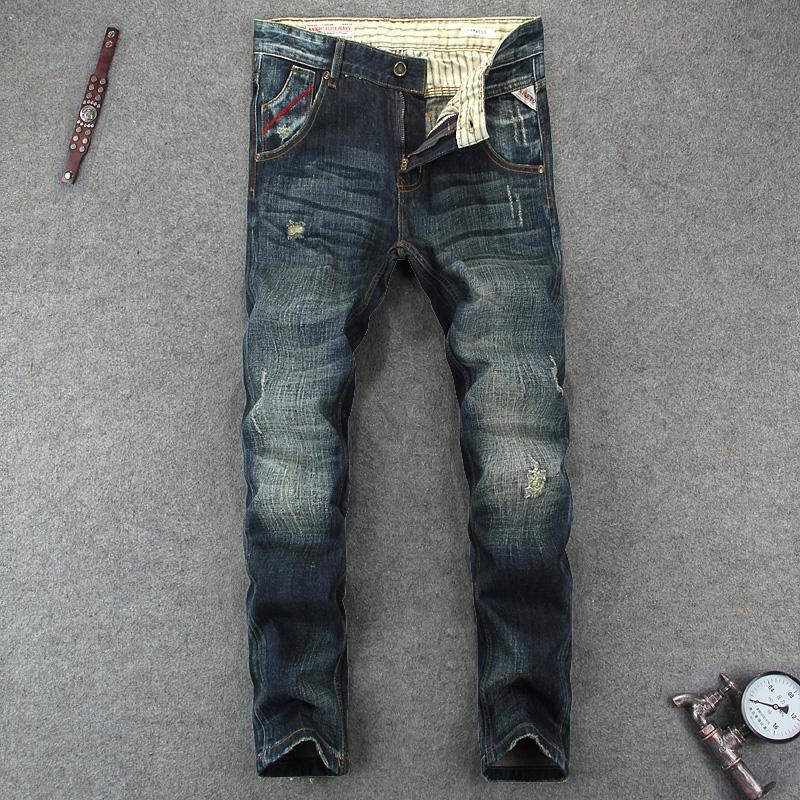 915d745e13734 Klassische Herren Jeans Vintage Retro Designer italienischen Stil  zerrissenen Jeans Slim Fit hohe Qualität Baumwolle Denim Marke Männer Hosen