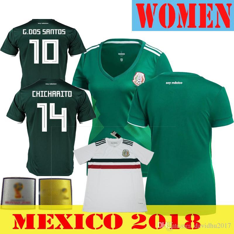 Mujer México 2018 Jerseys De Fútbol Mexicano Mulher Chicharito Chucky  Lozano Dos Santos Herrera Layun México Camiseta De Fútbol Camisetas De  Futbol Por ... fb90dfd809b8e