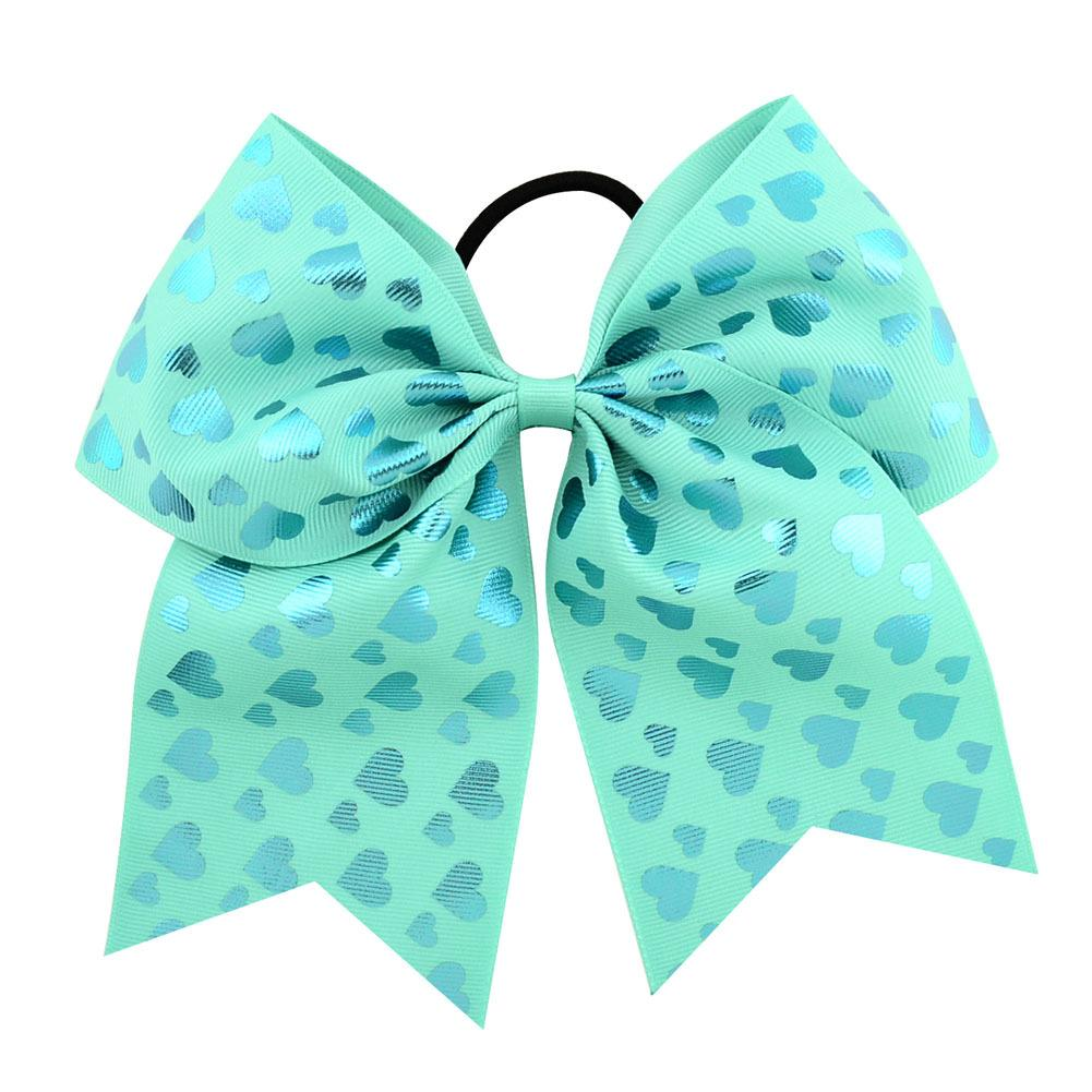 8 Inch Cute Children Boutique Unicorn Printed Glitter Cheer Bow With High Quality Elastic Bands For Pretty Girls
