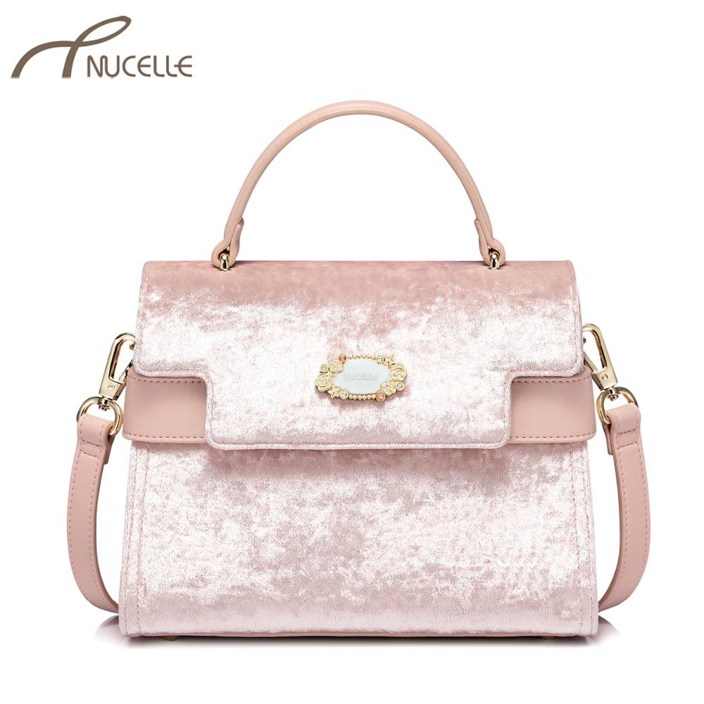 NUCELLE Women S Leather Handbags Ladies Fashion Velour Tote Purse Female  Leisure Elegant All Match Pink Color Crossbody Bags Leather Backpack Beach  Bags ... 6a12ed3eae495