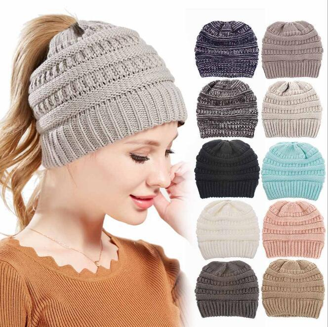 b10adbe49a381 Knitted Ponytail Hats Winter Knitted Cap Ponytail Messy Bun Beanies ...