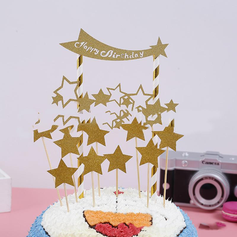 2019 1PACK Baby Shower Party Star Style Cake Toppers With Sticks Happy Birthday Kids Favors Decoration Cupcake Flag Events Supplies From Aldrichy