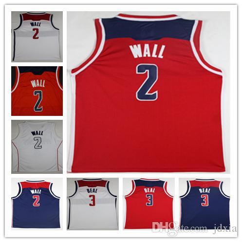 2018 NCAA Wholesale 2018 New Cheap 2  Wall Jerseys Red White City 3  Beal  Basketball Jersey Embroidery Logos John Wall Jerseys From Jdxia 4903b177b