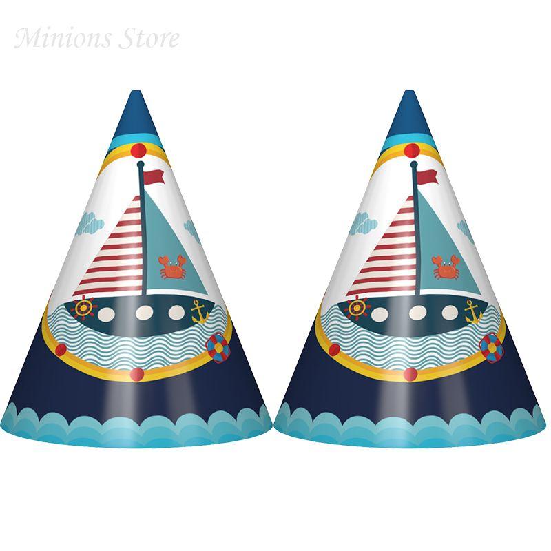Acquista   Nuovo Arriva Carino Blu Barca A Vela E Oceano Tema Cappelli Del  Fumetto Cappelli Di Carta Di Compleanno Bambini Buon Compleanno Festa ... 2e82f11e6877