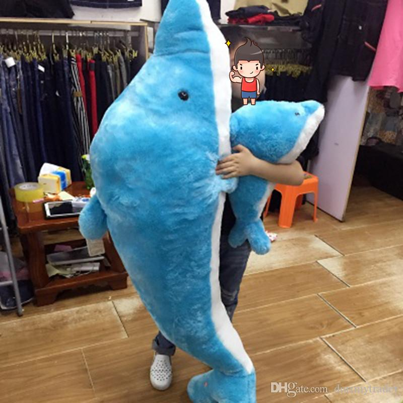 Dorimytrader Huge Soft Sea Animals Dolphins Plush Toy Lovely Large Cartoon Dolphin Doll Pillow for Lover Kids Gift 200cm DY60446