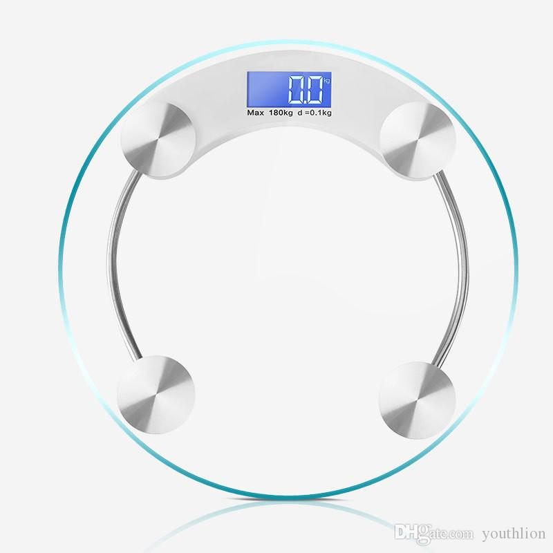 Digital Bathroom Scale With 180kg Body Weighing Scales Extra Large LED  Display Weight Balance Circle Design And Step On Startup