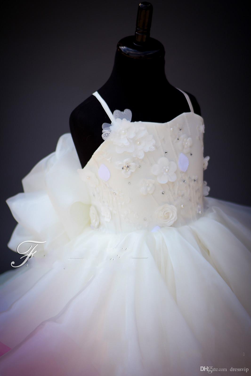 2020 Cute Радуга девушки цветок платье шнурок 3D Цветочной Аппликация из бисера Многоуровневого Первого причастия платья Спагетти выпускной вечер платье вечер партии Wear