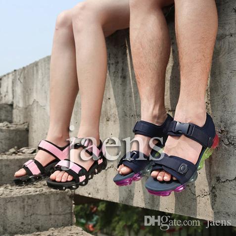 bdf0da7b9aa8c Acheter Hommes Vapeurs Femmes Unisexe Liège Tongs Sandales Sports D été  Chaussures De Mode Chaussons En Cuir Cool Slipper Casual Sandales  Chaussures EUR36 ...