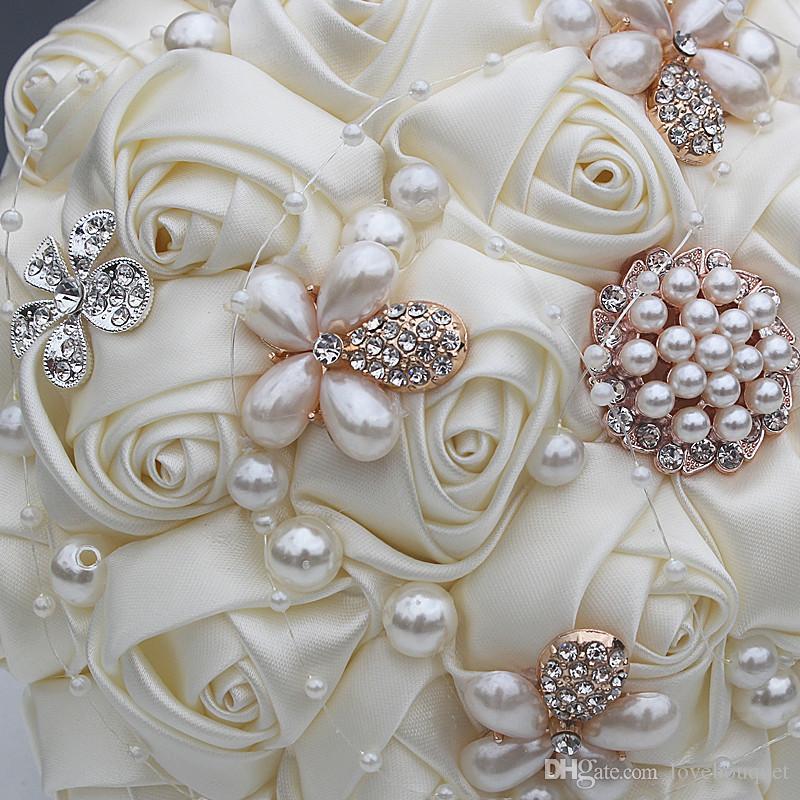 18CM 18CM Beige Künstliche Seidenblumen Bouquet Braut Brautjungfer Blumen Braut Holding Blumen Strass Broschen Hochzeitsstrauß