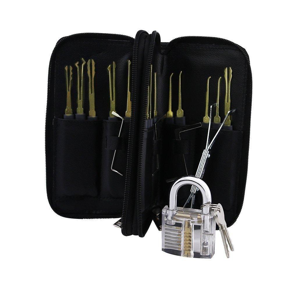 Stainless Steel 24pcs GOSO Lock Picks set with Leather Bag & Transparent  Padlock Practice Lock Locksmith Fast Lock Opener