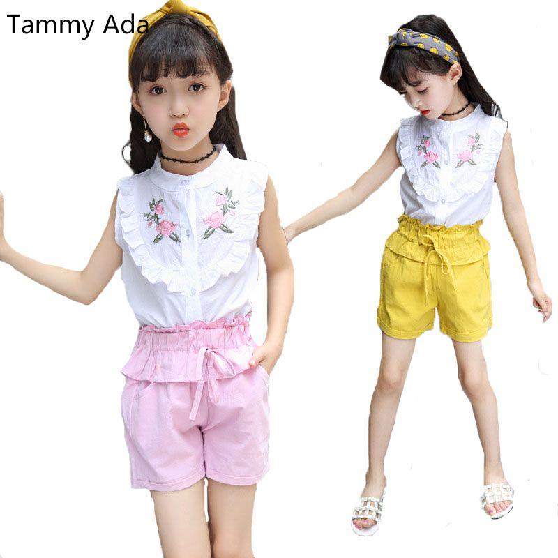 c153d6e08868 2019 Tammy Ada 2018 Summer Girls Embroidery Floral T Shirt + Shorts ...