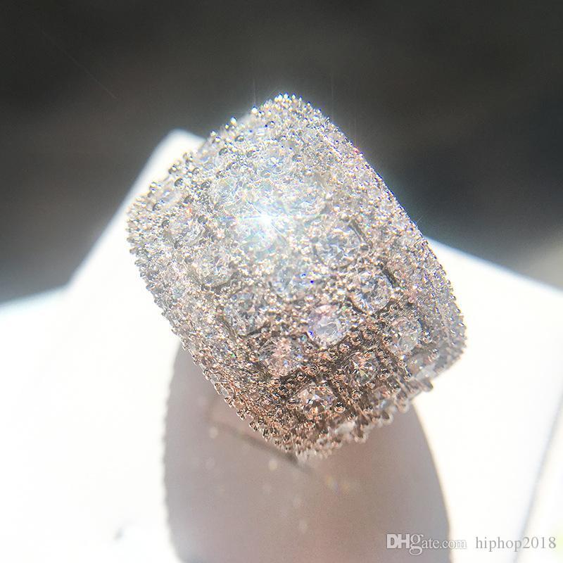 Anéis de Noivado de Diamante Simulado Mens Jóias Novo Anel de Casamento de Prata de Alta Qualidade Moda Zircão Para As Mulheres