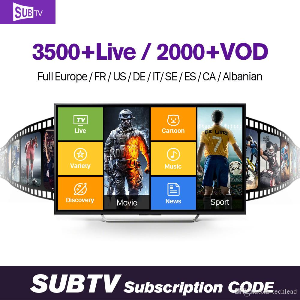12 Month SUBTV IPTV Subscription French Spain Belgium UK Arabic Portugal  Russian Channels For MAG250,TV Box Android,Enigma2,Smart Tv M3U