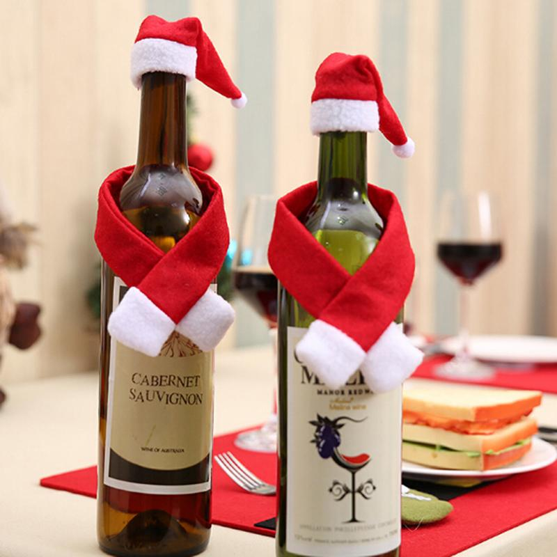 Christmas Ornament Gift Festival Glass Hat Scarf Red Wine Bottle Event Party Supplies Xmas Gift PC897803