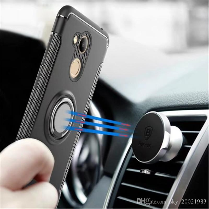 Anti-knock Soft Silicone PC Back Cover Cases For Huawei Honor 6C Pro Mobile Phone Case With Ring Bracket