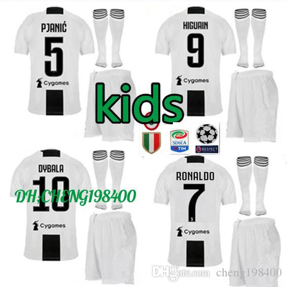 brand new 7e43b 5a3f7 JUVENTUS KIDS KITS RONALDO soccer jerseys HOME dybala kit 2018 2019 D.COSTA  HIGUAIN MATUIDI MANDZUKIC KIDS JERSEY CHILD AWAY football shirts