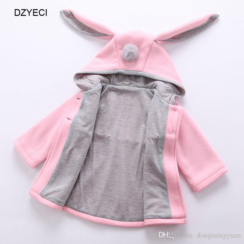 6073d2e42 Autumn Winter Bunny Ears Hooded Coat For Baby Girl Outwear Clothes ...