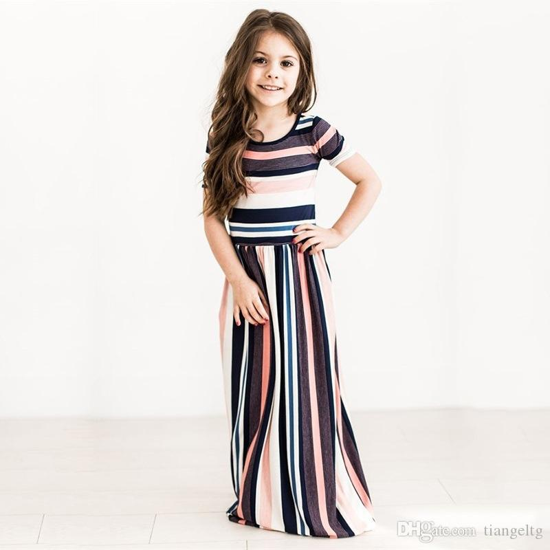 Girls Colorful Striped Dress Printed O-neck Short Sleeve Long Dress Ankle-Length Longuette Skirt Breathable Summer 1-7T