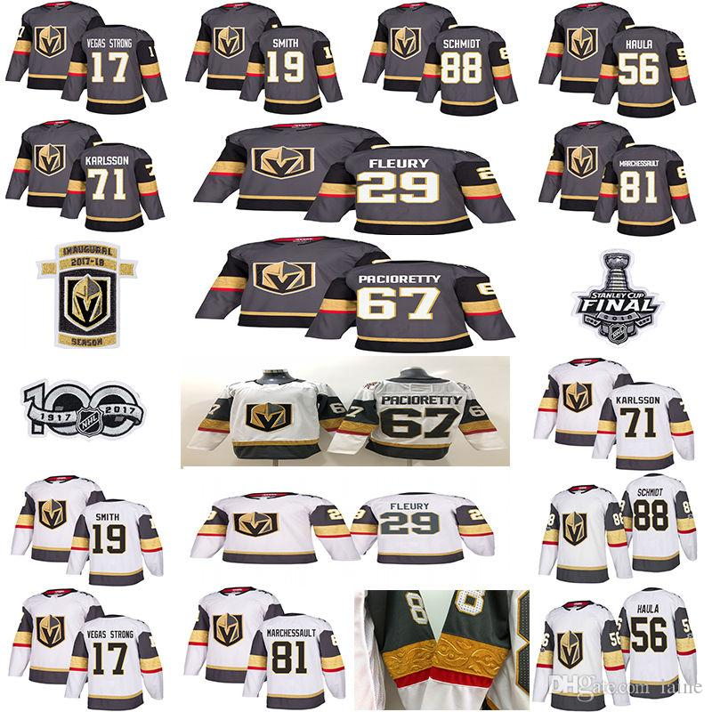 04b0bc465 2019 2018 Vegas Golden Knights Jersey 29 Marc Andre Fleury 67 Max  Pacioretty 56 Erik Haula Nate Schmidt Hockey Men 2018 Stanley Cup Finals  From Laine, ...