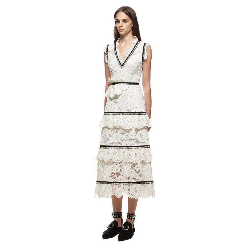 c910914e84 Midi Dresses White Plunging V Neck Cake Dress Women Sleeveless Beach  Vestidos QWA1064 UK 2019 From Kkppzn