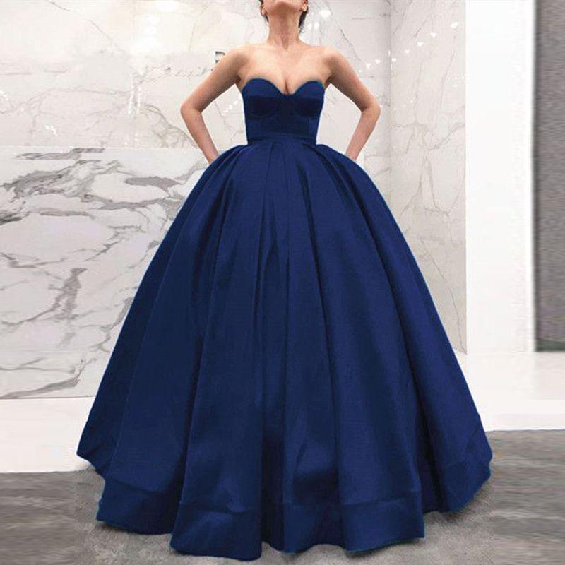 1d382945cf61f Navy Blue Ball Gown Evening Dresses Sweetheart Strapless Satin Floor Length  Corset Plus Size Prom Dresses Formal Dress Zipper Up Pink Evening Dress Plus  ...