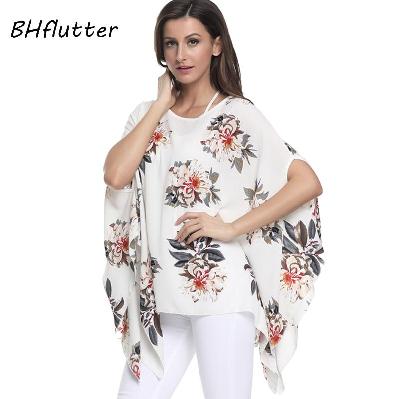 2019 BHflutter Blouse 2018 New Style Floral Print Summer Blouses 4XL 5XL  6XL Plus Size Women Shirts Batwing Casual Chiffon Tops Blusa From Erzhang 53cf6e1ea816