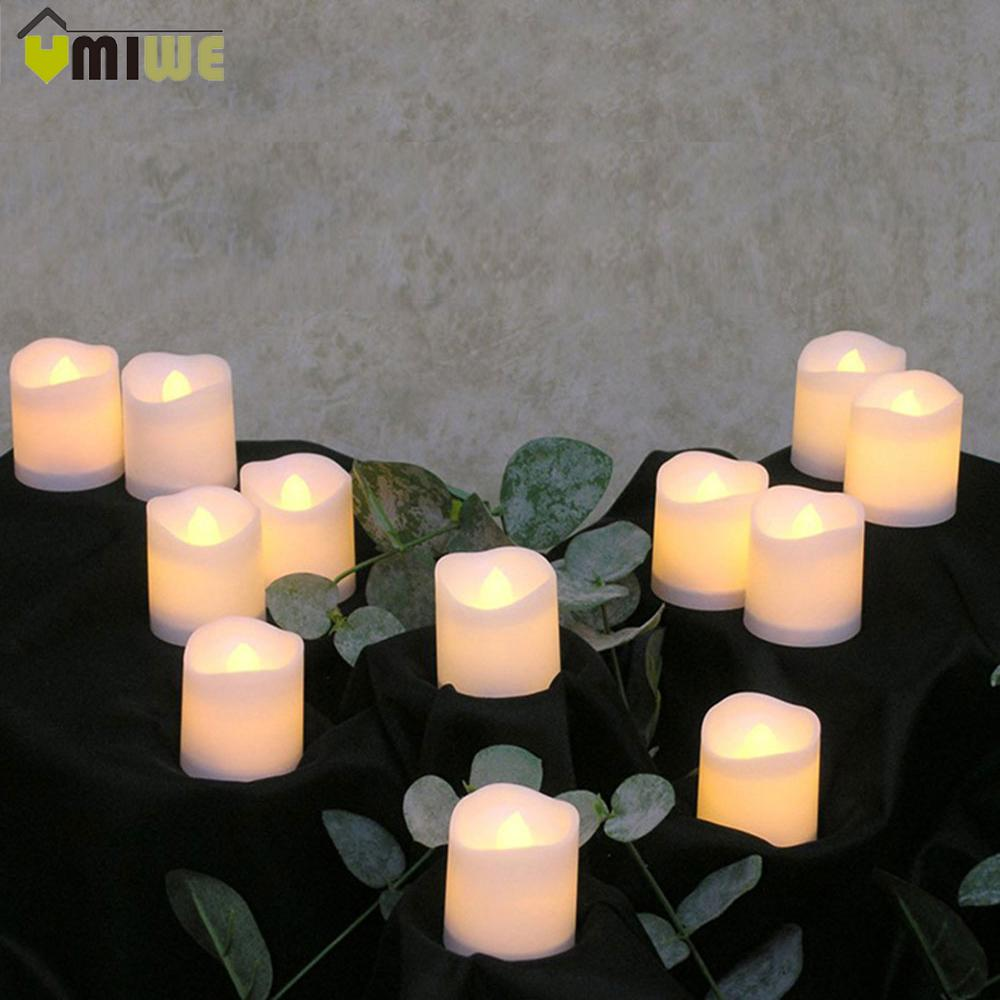 12pcs Flameless Led Candle Flicker Light Lamp Decoration Electric Battery -Powered Candles Yellow Tea Light Party Wedding Candle