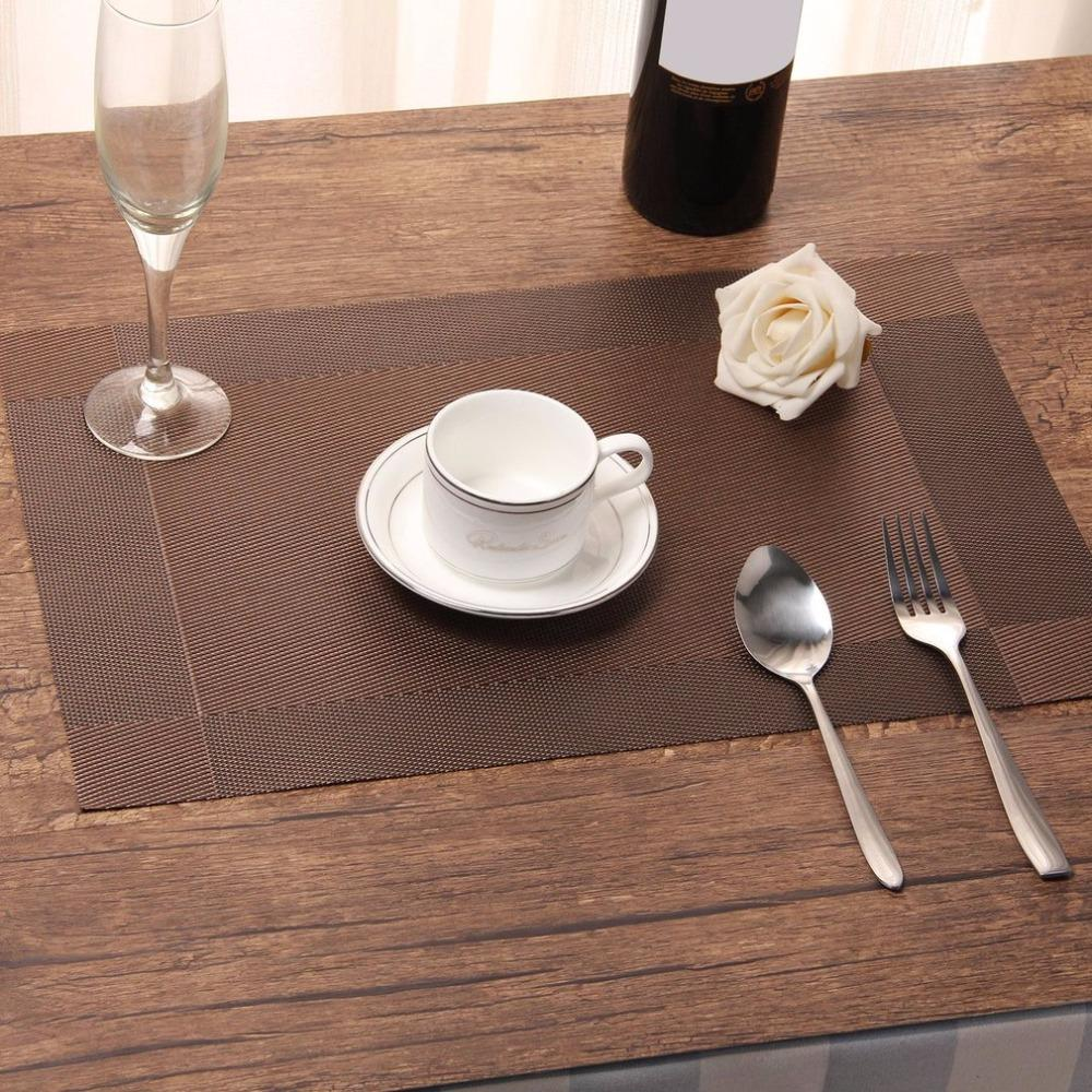 2pcs Cross Weave PVC Place Mat Non-slip Stain Resistant Heat Insulation Placemat Washable Table Mats For Kitchen Dining Table