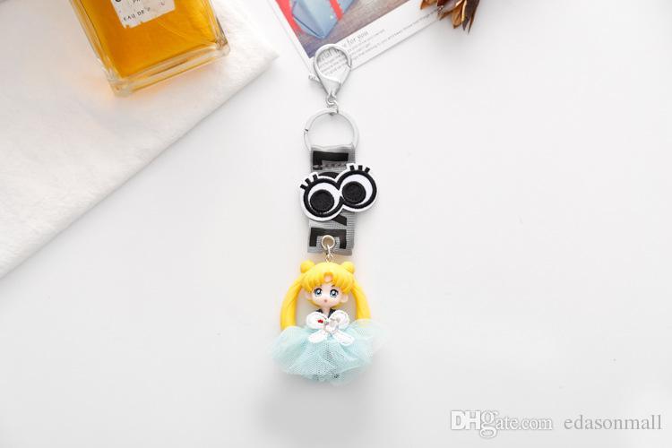 12 unids / set Cartoon Anime Sailor Moon Llaveros Con Cinta AMOR Titular Clave Impreso Llavero Colgantes de Regalo Para Niños D538LR