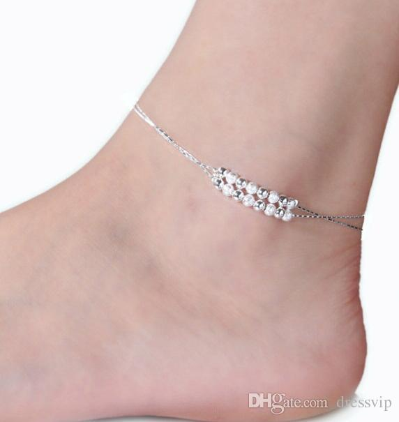 Kadınlar Için moda 925 Ayar Gümüş Halhal Bayanlar Kızlar Benzersiz Güzel Seksi Basit Boncuk Gümüş Zincir Halhal Ayak Bileği Ayak Takı Hediye Düğün