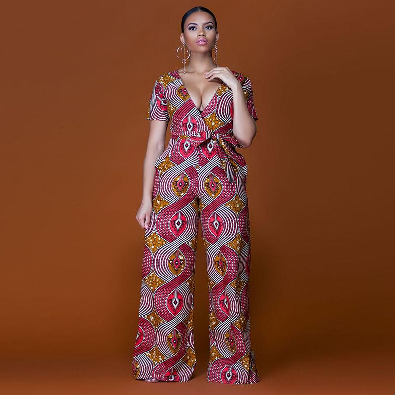 a50f08a75f0 2019 Plus Size 2018 Summer Wide Leg Pant Women Rompers Jumpsuits African  Print Clothing Casual Sexy Deep V Neck Tunic Party Overalls From  Buttonhole