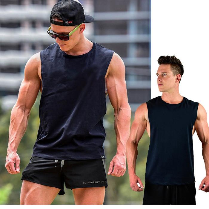 0234f39552562 Men S Cotton Loose Gym Sports Tank Tops For Male Black Fitness Running  Casual Wide Shoulder Sleeveless T Shirts Vests Undershirt Designer White T  Shirt ...