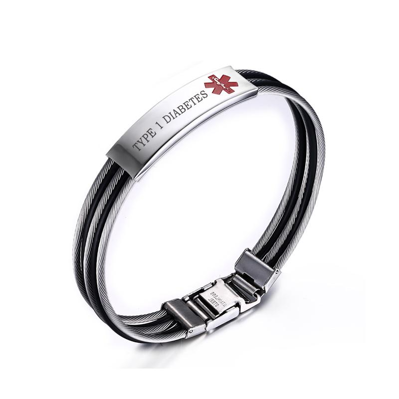 2019 Medical Alert ID Bracelet For Men Custom Engraved TYPE 1 DIABETES EPILEPSY Family Gift From Cupwater, $13.83 | DHgate.Com