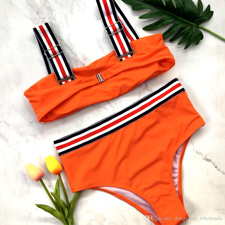 Maillots de bain Bikini taille haute 2018 Maillot de bain Feamle Bandeau Brésilien Sexy Bikinis rouge Set maillot de bain Plage Wear maillots de bain