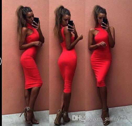 Sexy Halter Neck Cap Shoulder Women Bandage Dresses 2018 Hot Sale Cheap Zipper Back Sheath Women Casual Dress White Black Red Colors